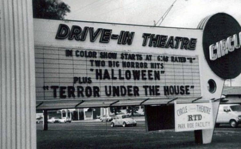 Drive-in Movie Theater Showing Halloween
